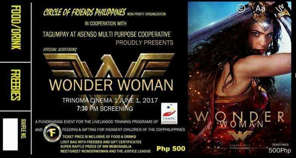 upcoming event  wonder woman special screening at trinoma cinema 1